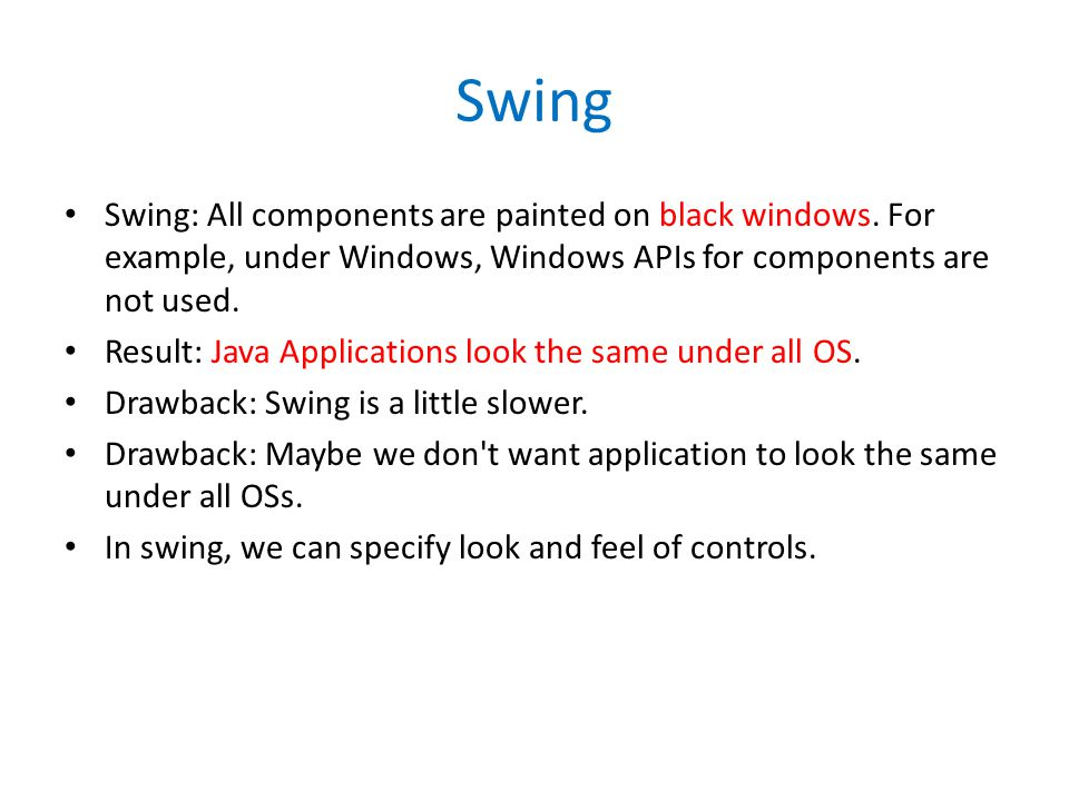 Swing Swing: All components are painted on black windows.