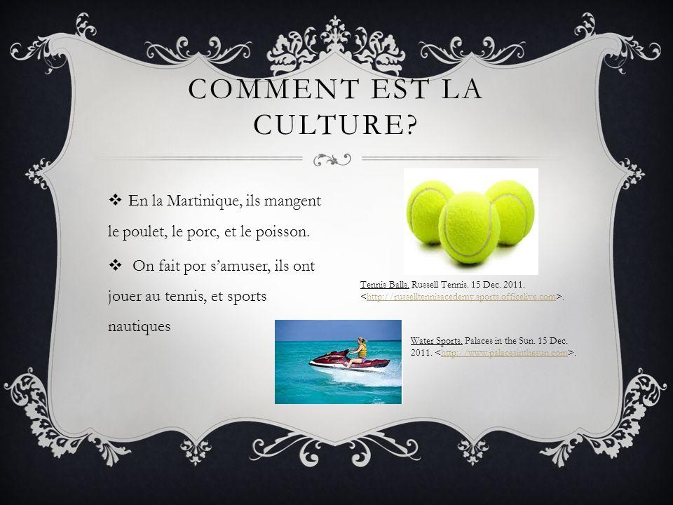 En la Martinique, ils mangent le poulet, le porc, et le poisson. On fait por samuser, ils ont jouer au tennis, et sports nautiques COMMENT EST LA CULT