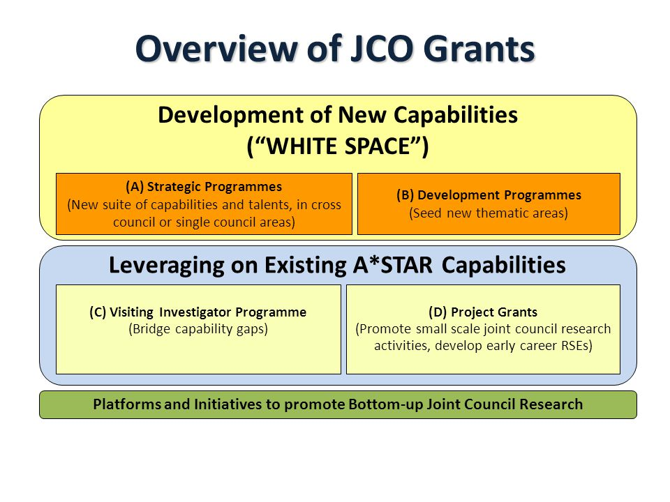 Overview of JCO Grants Leveraging on Existing A*STAR Capabilities (C) Visiting Investigator Programme (Bridge capability gaps) (D) Project Grants (Promote small scale joint council research activities, develop early career RSEs) Platforms and Initiatives to promote Bottom-up Joint Council Research (A) Strategic Programmes (New suite of capabilities and talents, in cross council or single council areas) (B) Development Programmes (Seed new thematic areas) Development of New Capabilities (WHITE SPACE)