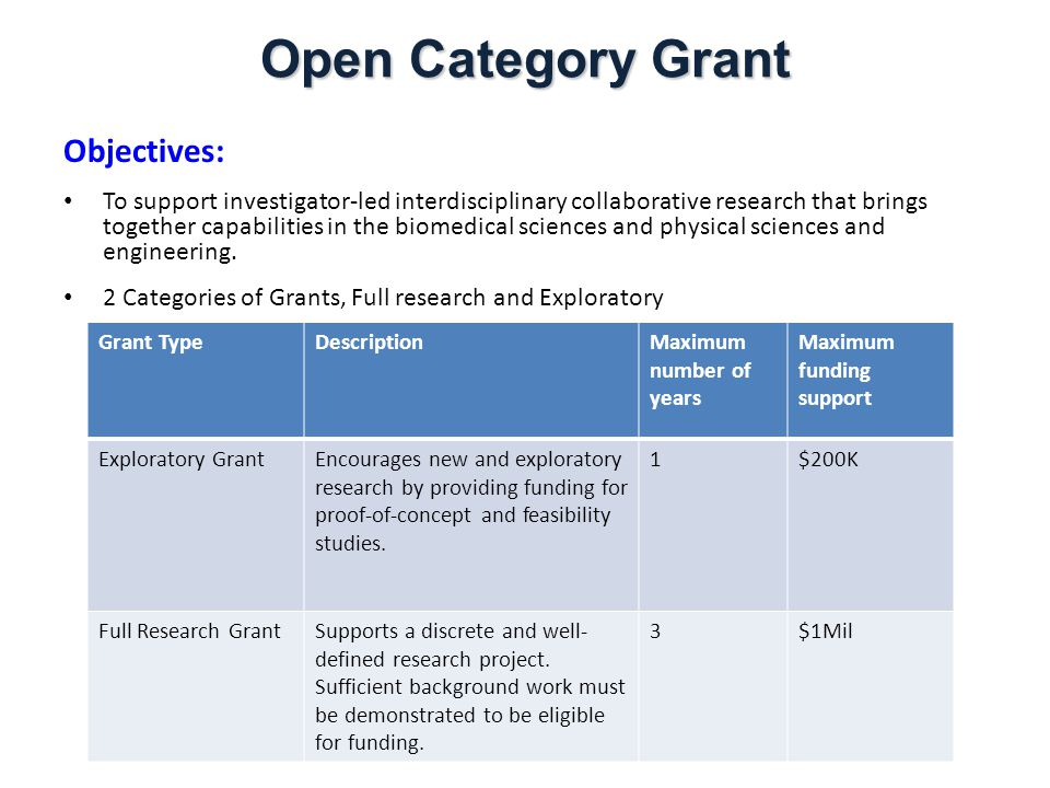 Eligibility: All grant applications should involve at at least two separate entities within A*STAR (i.e must be from different RIs) and must have at least one (1) Lead Investigator with BMS expertise and one (1) Lead Investigator with S&E expertise.