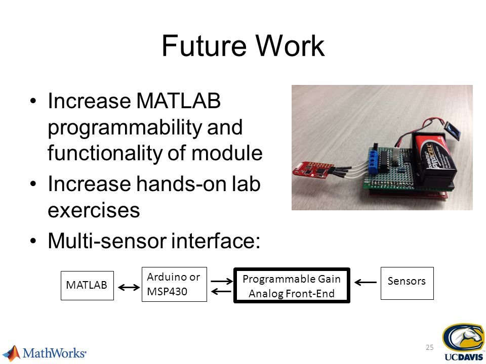 Future Work Increase MATLAB programmability and functionality of module Increase hands-on lab exercises Multi-sensor interface: Arduino or MSP430 Programmable Gain Analog Front-End Sensors MATLAB 25