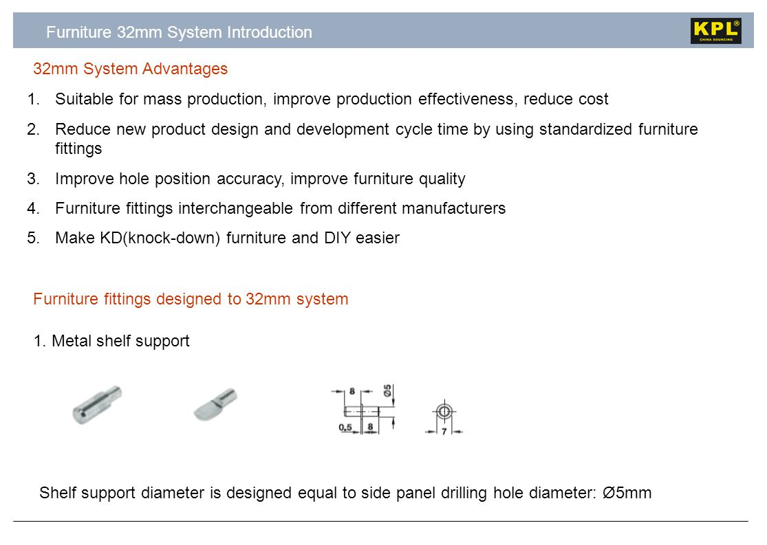 Furniture 32mm System Introduction 32mm System Advantages 1.Suitable for mass production, improve production effectiveness, reduce cost 2.Reduce new product design and development cycle time by using standardized furniture fittings 3.Improve hole position accuracy, improve furniture quality 4.Furniture fittings interchangeable from different manufacturers 5.Make KD(knock-down) furniture and DIY easier 1.