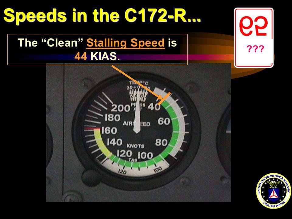 Speeds in the C172-R... ??? The Clean Stalling Speed is 44 KIAS.