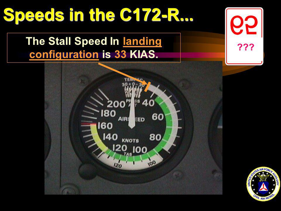 Speeds in the C172-R... ??? The Stall Speed In landing configuration is 33 KIAS.