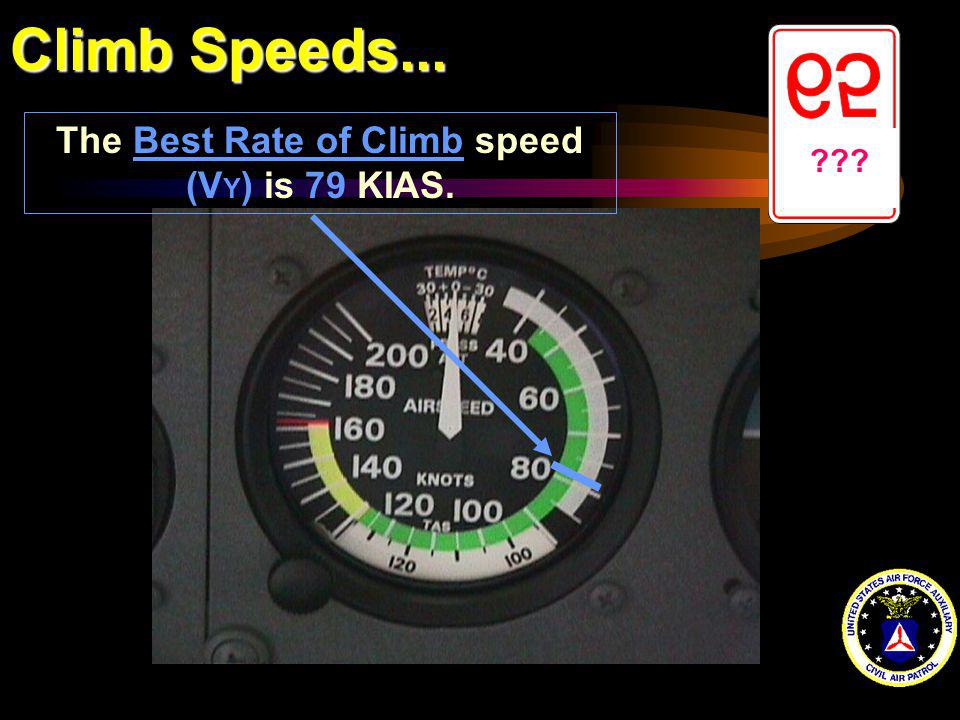 Climb Speeds... ??? The Best Rate of Climb speed (V Y ) is 79 KIAS.