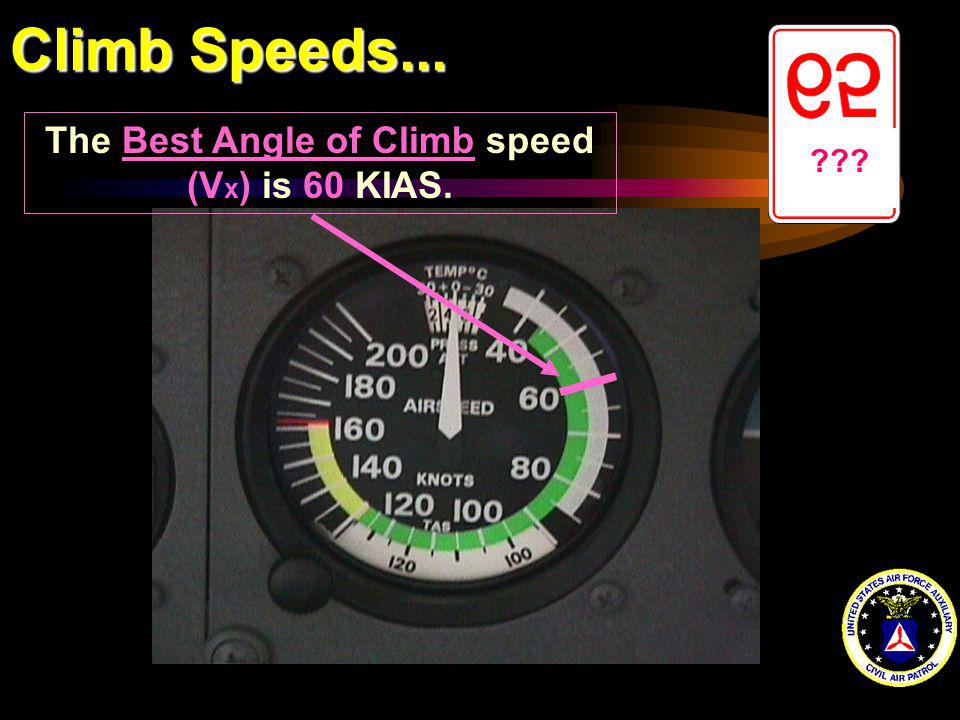 Climb Speeds... ??? The Best Angle of Climb speed (V x ) is 60 KIAS.