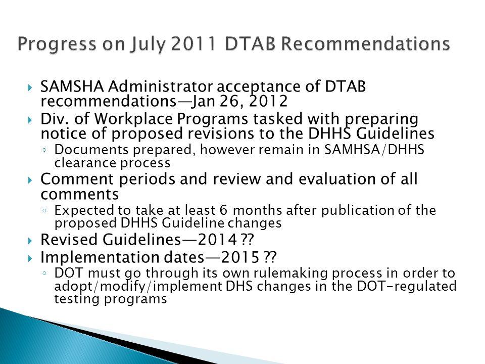 SAMSHA Administrator acceptance of DTAB recommendationsJan 26, 2012 Div.