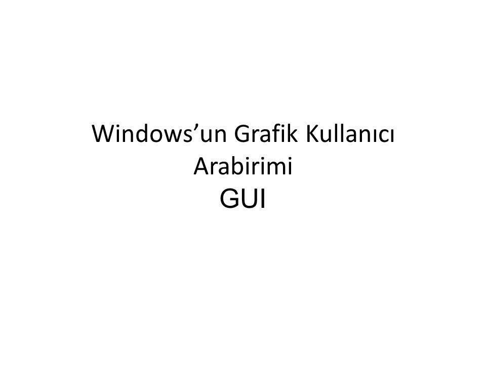Windowsun Grafik Kullanıcı Arabirimi GUI