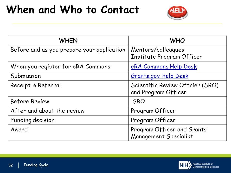 When and Who to Contact 32 Funding Cycle WHENWHO Before and as you prepare your applicationMentors/colleagues Institute Program Officer When you register for eRA CommonseRA Commons Help Desk SubmissionGrants.gov Help Desk Receipt & ReferralScientific Review Offcier (SRO) and Program Officer Before Review SRO After and about the reviewProgram Officer Funding decisionProgram Officer AwardProgram Officer and Grants Management Specialist
