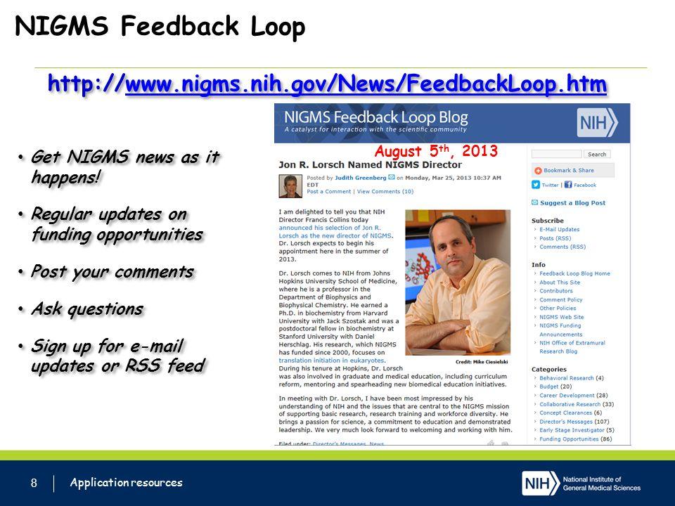 NIGMS Feedback Loop 8 Get NIGMS news as it happens.