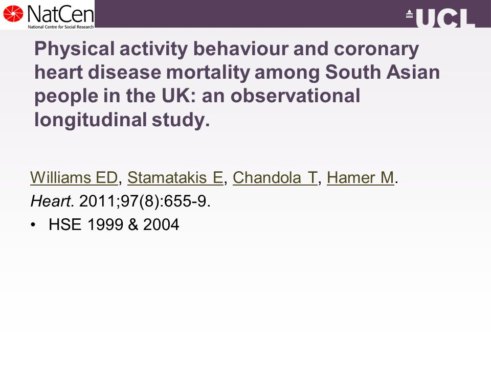 Physical activity behaviour and coronary heart disease mortality among South Asian people in the UK: an observational longitudinal study.