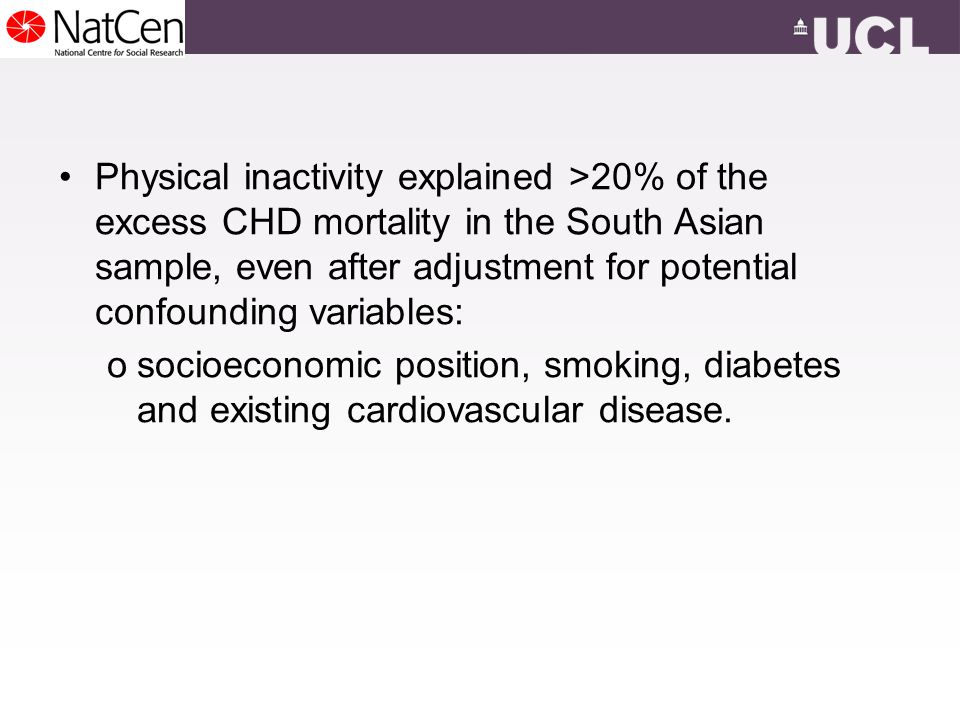 Physical inactivity explained >20% of the excess CHD mortality in the South Asian sample, even after adjustment for potential confounding variables: osocioeconomic position, smoking, diabetes and existing cardiovascular disease.