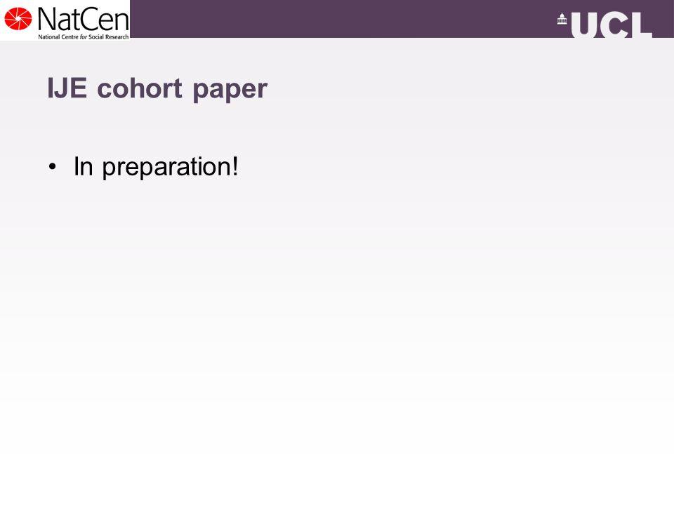IJE cohort paper In preparation!