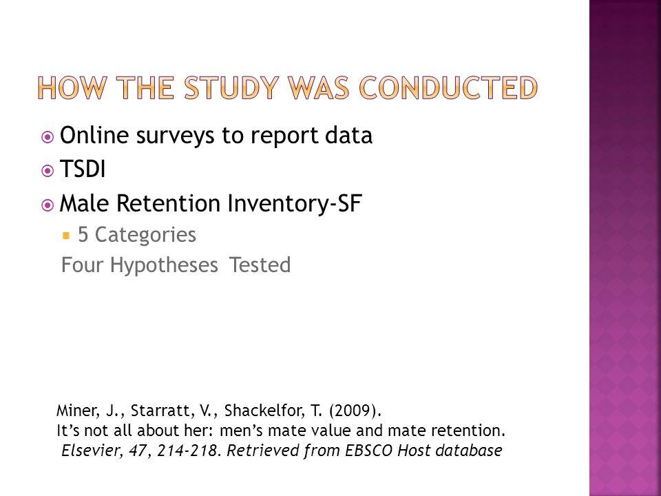 Online surveys to report data TSDI Male Retention Inventory-SF 5 Categories Four Hypotheses Tested Miner, J., Starratt, V., Shackelfor, T.