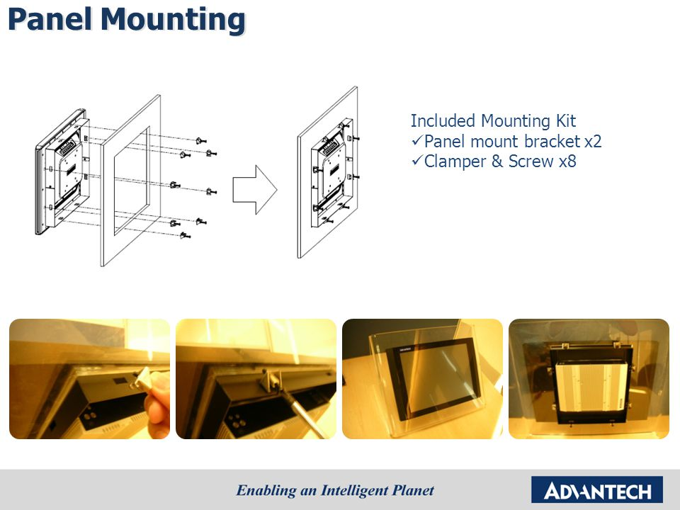 Included Mounting Kit Panel mount bracket x2 Clamper & Screw x8 Panel Mounting