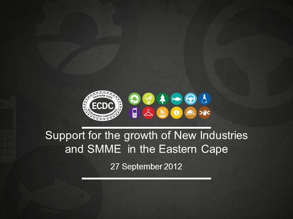 Support for the growth of New Industries and SMME in the Eastern Cape 27 September 2012