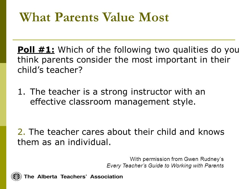 What Parents Value Most With permission from Gwen Rudneys Every Teachers Guide to Working with Parents Poll #1: Which of the following two qualities do you think parents consider the most important in their childs teacher.