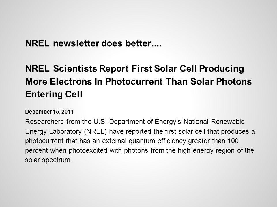 NREL newsletter does better....