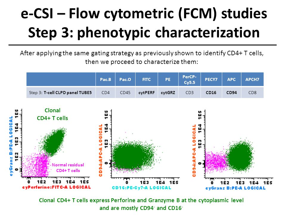 e-CSI – Flow cytometric (FCM) studies Step 3: phenotypic characterization Normal residual CD4+ T cells Clonal CD4+ T cells Clonal CD4+ T cells express