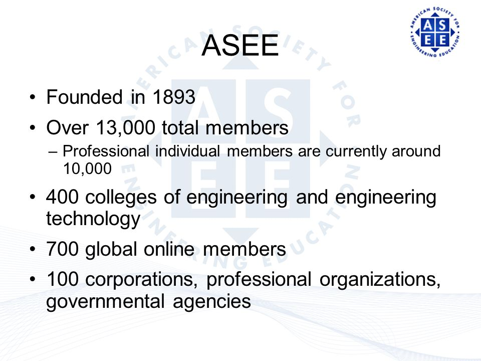 ASEE Founded in 1893 Over 13,000 total members –Professional individual members are currently around 10,000 400 colleges of engineering and engineering technology 700 global online members 100 corporations, professional organizations, governmental agencies
