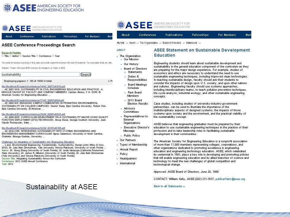 Sustainability at ASEE
