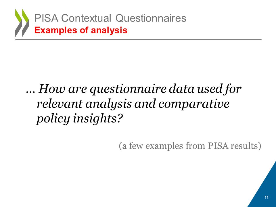 … How are questionnaire data used for relevant analysis and comparative policy insights.
