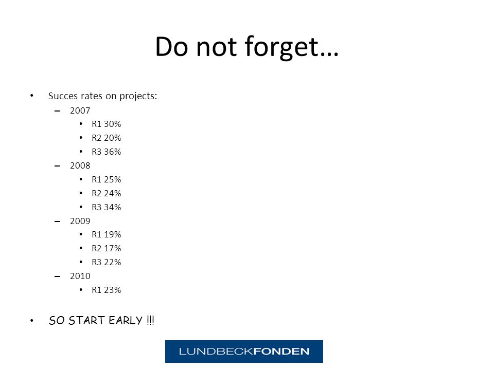 Do not forget… Succes rates on projects: – 2007 R1 30% R2 20% R3 36% – 2008 R1 25% R2 24% R3 34% – 2009 R1 19% R2 17% R3 22% – 2010 R1 23% SO START EARLY !!!