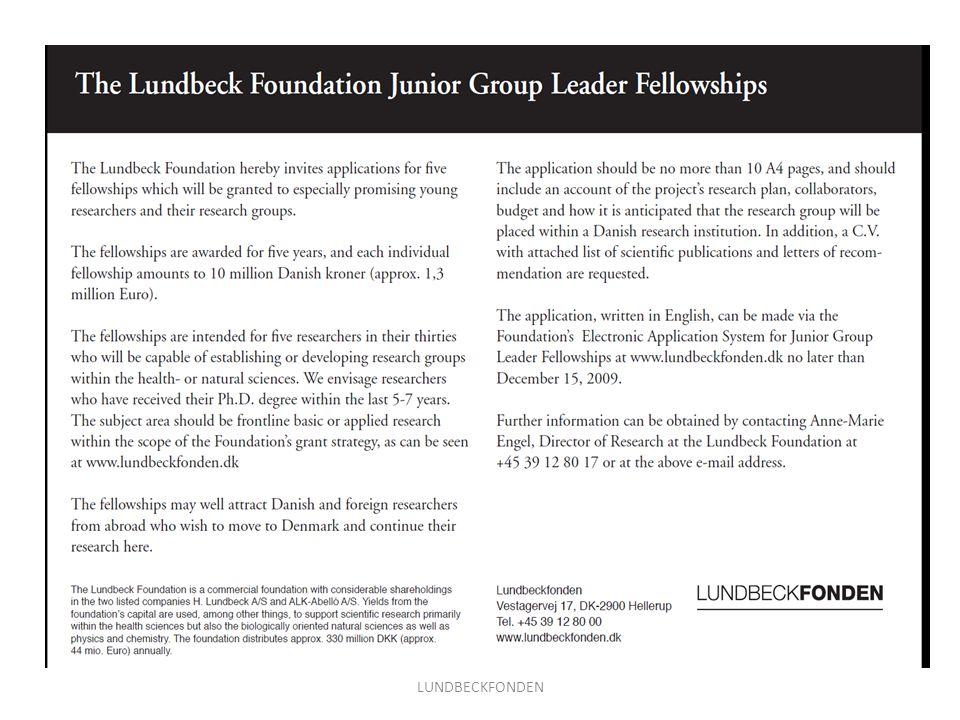 Grants of Excellence LUNDBECKFONDEN