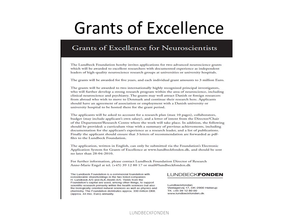 Grants of Excellence LUNDBECKFONDEN