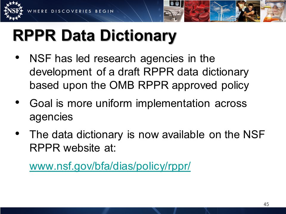RPPR Data Dictionary NSF has led research agencies in the development of a draft RPPR data dictionary based upon the OMB RPPR approved policy Goal is