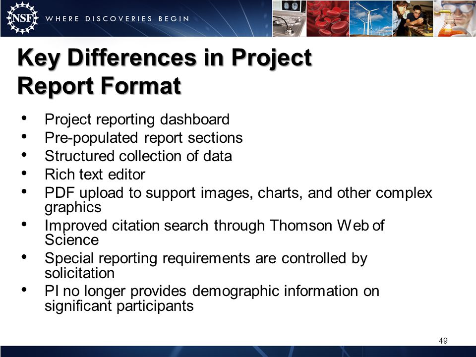 Key Differences in Project Report Format Project reporting dashboard Pre-populated report sections Structured collection of data Rich text editor PDF