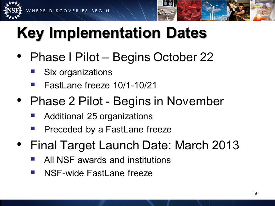 Key Implementation Dates Phase I Pilot – Begins October 22 Six organizations FastLane freeze 10/1-10/21 Phase 2 Pilot - Begins in November Additional