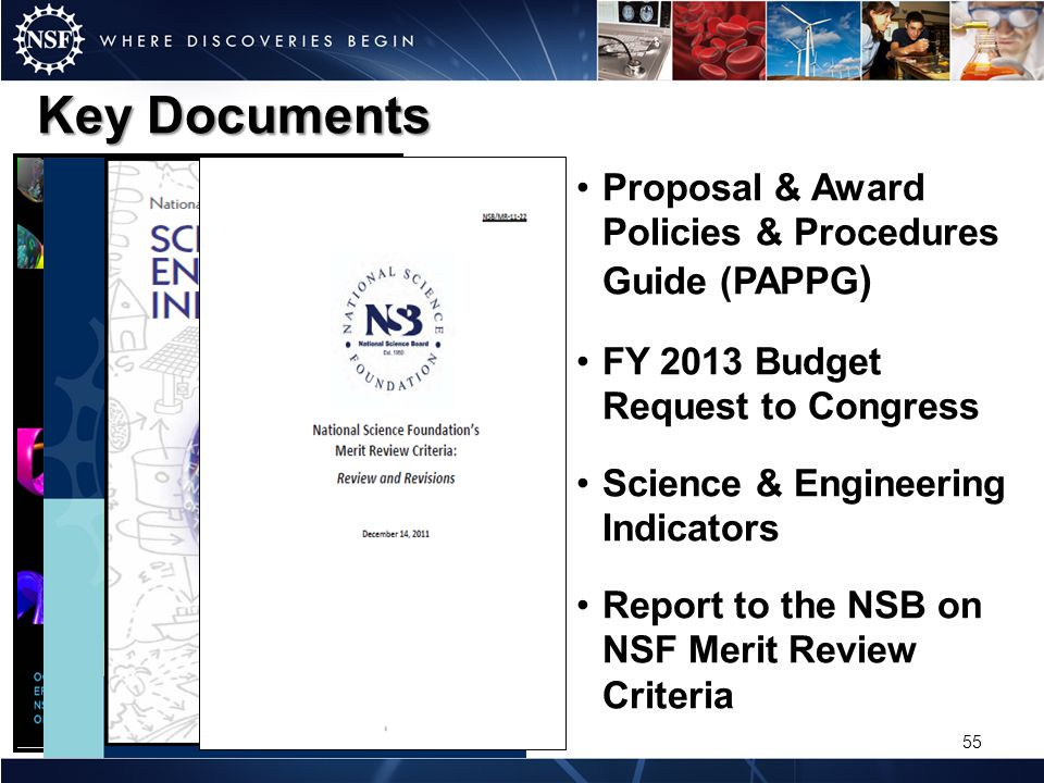 Key Documents Proposal & Award Policies & Procedures Guide (PAPPG ) FY 2013 Budget Request to Congress Science & Engineering Indicators Report to the