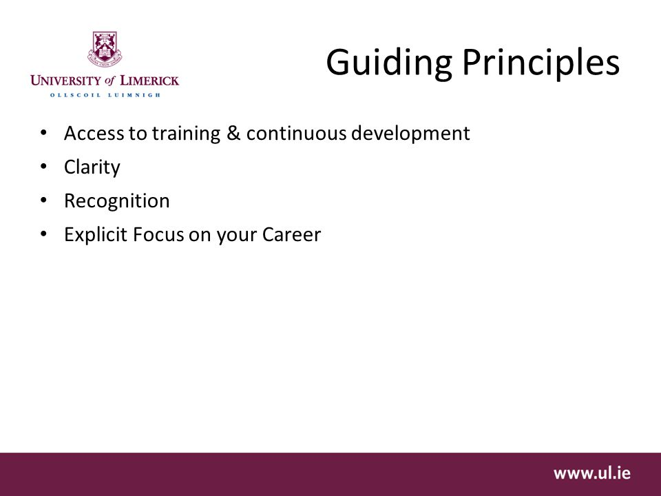 Guiding Principles Access to training & continuous development Clarity Recognition Explicit Focus on your Career