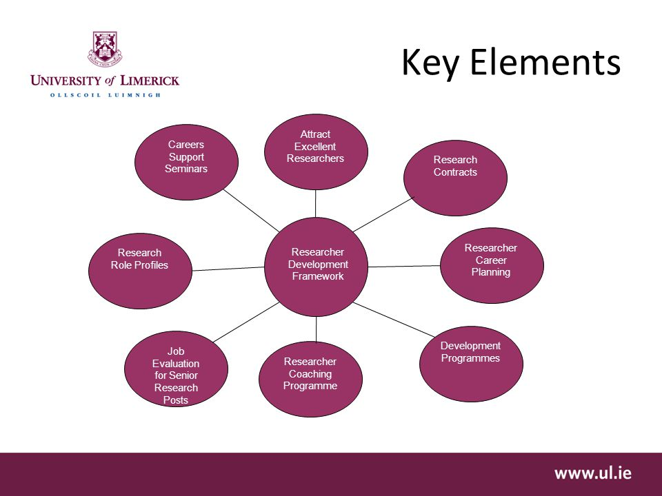 Key Elements Researcher Development Framework Research Contracts Researcher Coaching Programme Development Programmes Researcher Career Planning Job Evaluation for Senior Research Posts Research Role Profiles Careers Support Seminars Attract Excellent Researchers