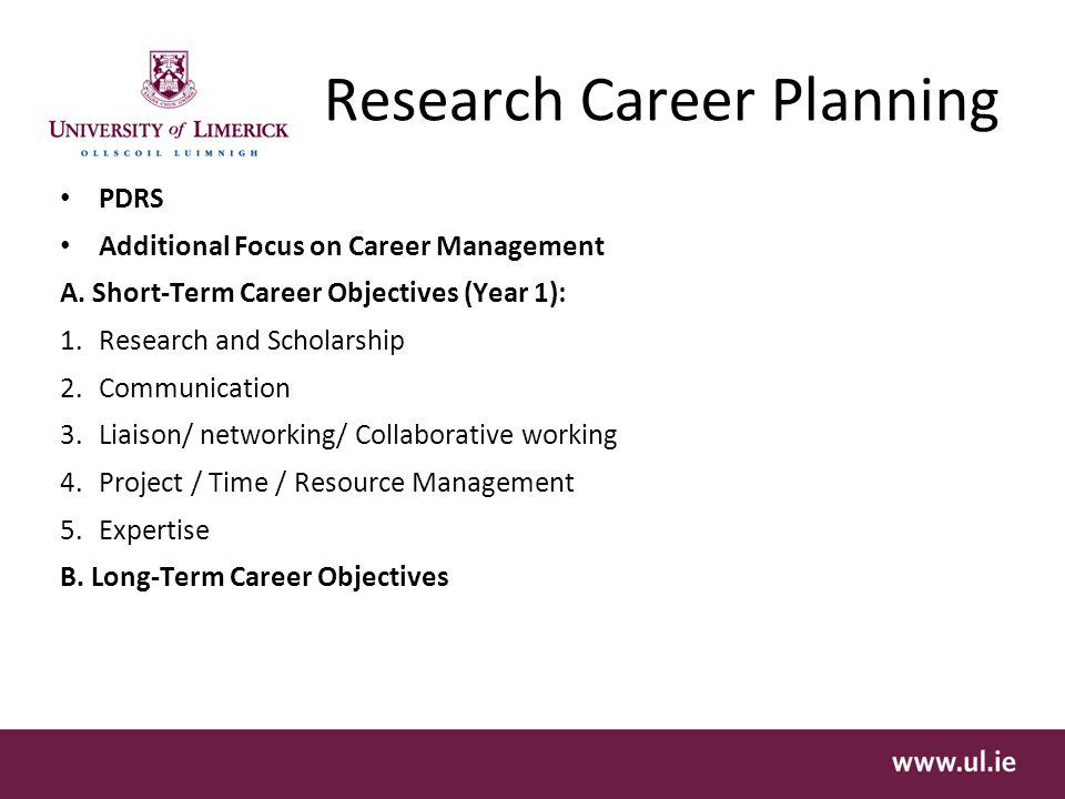 Research Career Planning PDRS Additional Focus on Career Management A.