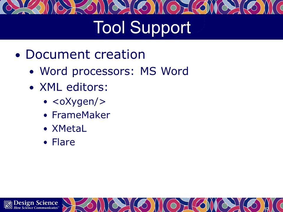 Tool Support Document creation Word processors: MS Word XML editors: FrameMaker XMetaL Flare 12