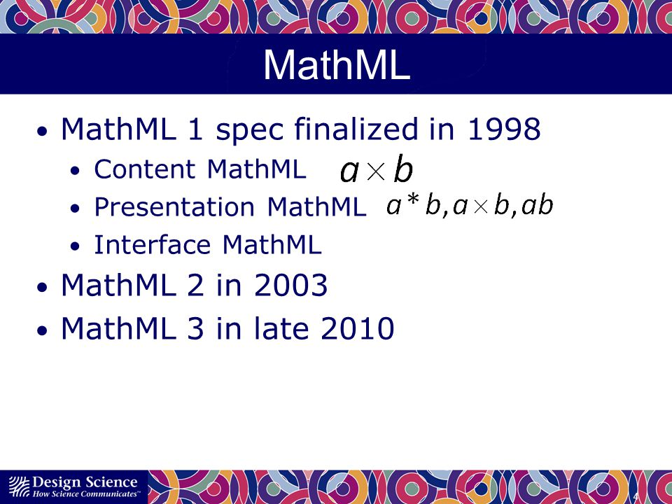 MathML MathML 1 spec finalized in 1998 Content MathML Presentation MathML Interface MathML MathML 2 in 2003 MathML 3 in late 2010 4