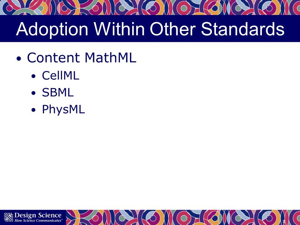 Adoption Within Other Standards Presentation MathML DocBook DITA 1.3 Journal Article Tag Set Accessibility: DAISY NIMAS PDF/UA 9