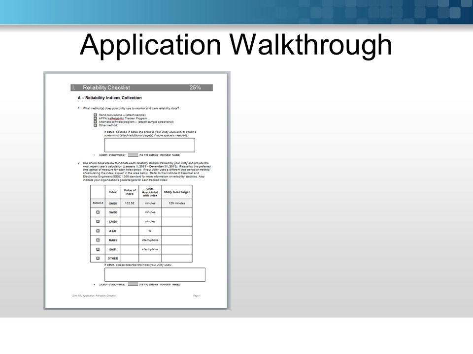 Application Walkthrough