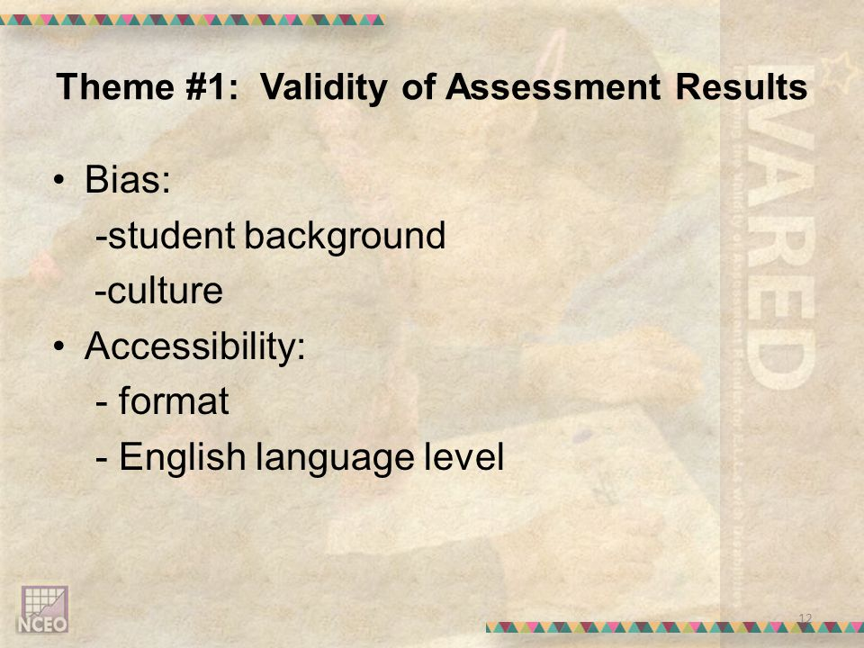 Theme #1: Validity of Assessment Results Bias: -student background -culture Accessibility: - format - English language level 12