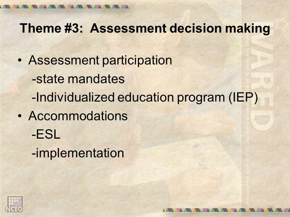 Theme #3: Assessment decision making Assessment participation -state mandates -Individualized education program (IEP) Accommodations -ESL -implementation 14