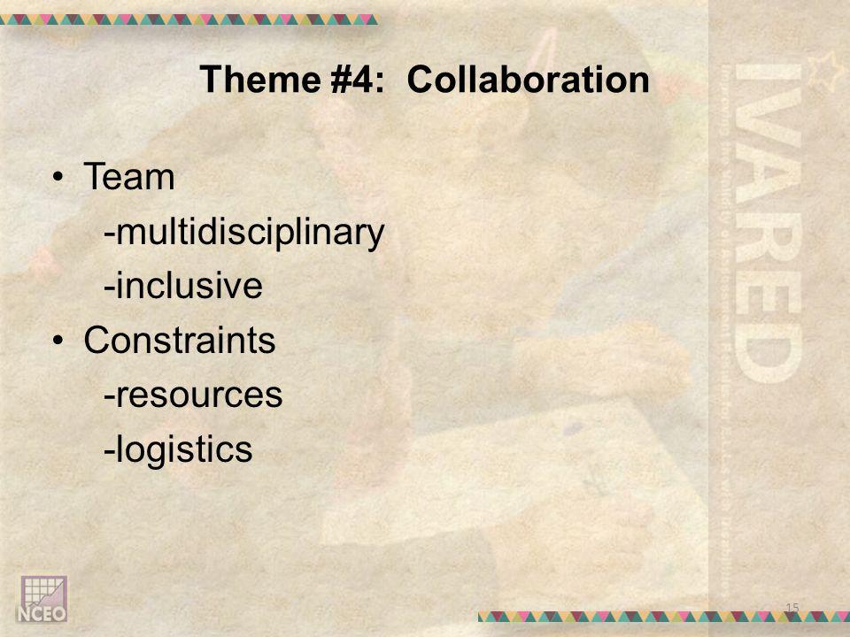 Theme #4: Collaboration Team -multidisciplinary -inclusive Constraints -resources -logistics 15