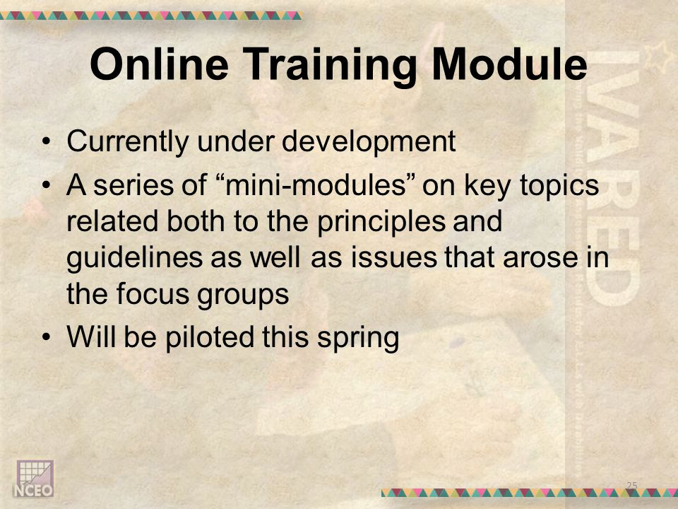 Online Training Module Currently under development A series of mini-modules on key topics related both to the principles and guidelines as well as issues that arose in the focus groups Will be piloted this spring 25
