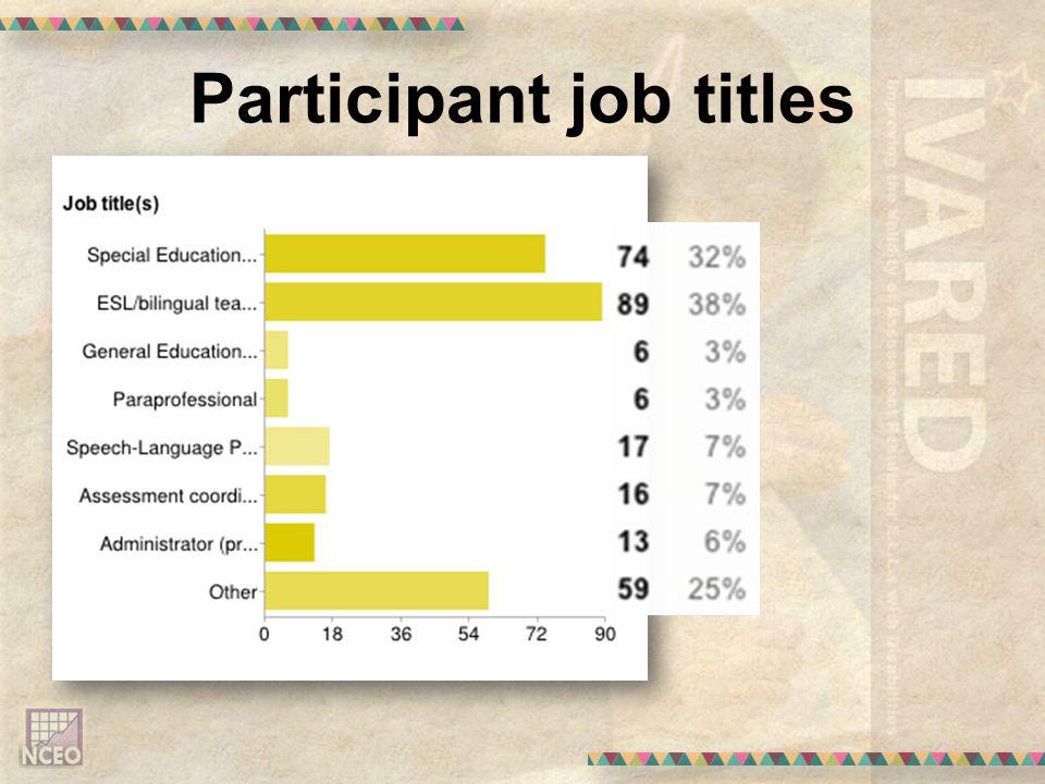 Participant job titles