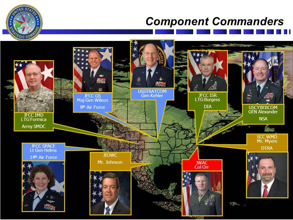 Slide # 4 Component Commanders UNCLASSIFIED USSTRATCOM Gen Kehler JFCC IMD LTG Formica Army SMDC JFCC ISR LTG Burgess DIA JFCC GS Maj Gen Wilson 8 th