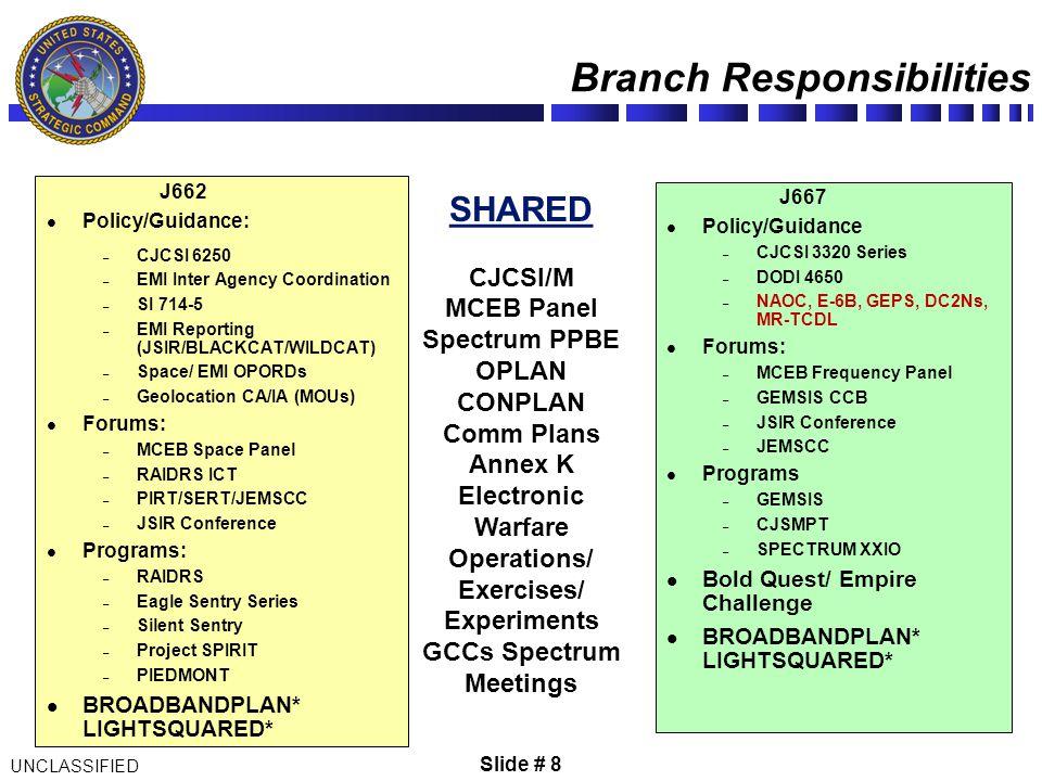 UNCLASSIFIED Slide # 8 J662 Policy/Guidance: – CJCSI 6250 – EMI Inter Agency Coordination – SI 714-5 – EMI Reporting (JSIR/BLACKCAT/WILDCAT) – Space/
