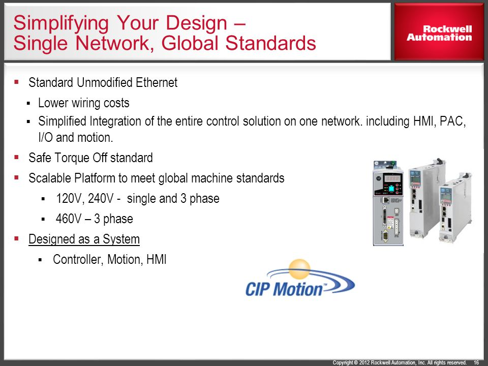 Copyright © 2012 Rockwell Automation, Inc. All rights reserved. Simplifying Your Design – Single Network, Global Standards Standard Unmodified Etherne