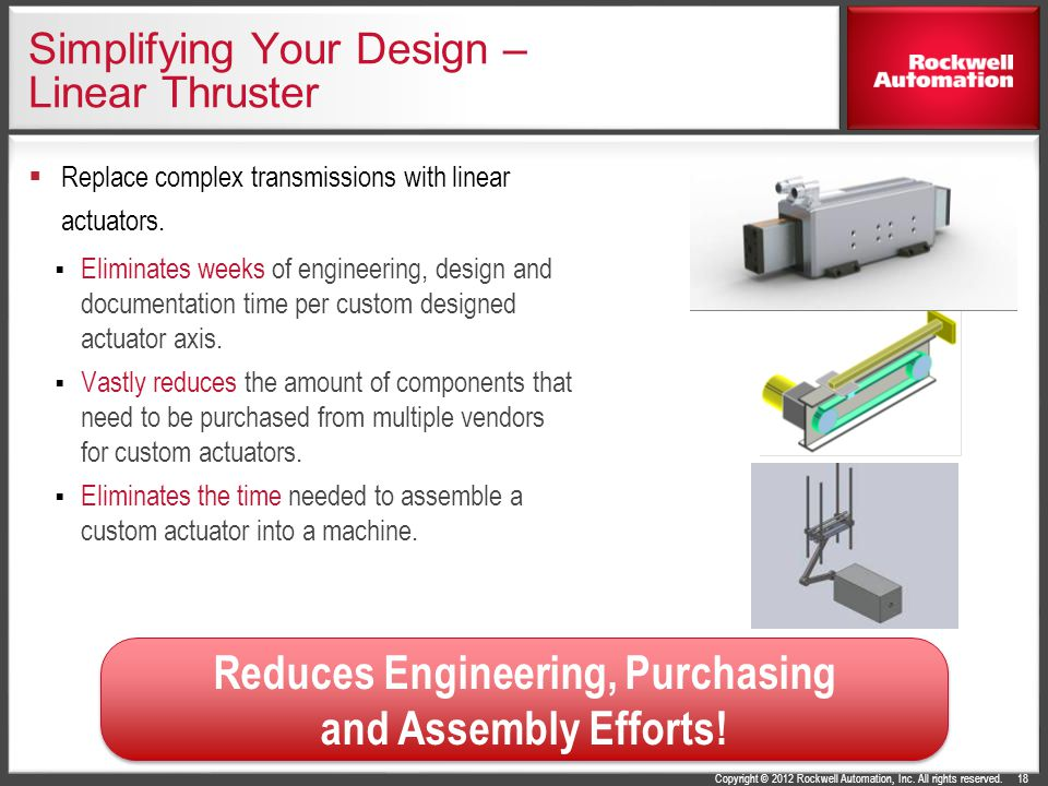Copyright © 2012 Rockwell Automation, Inc. All rights reserved. Simplifying Your Design – Linear Thruster Replace complex transmissions with linear ac