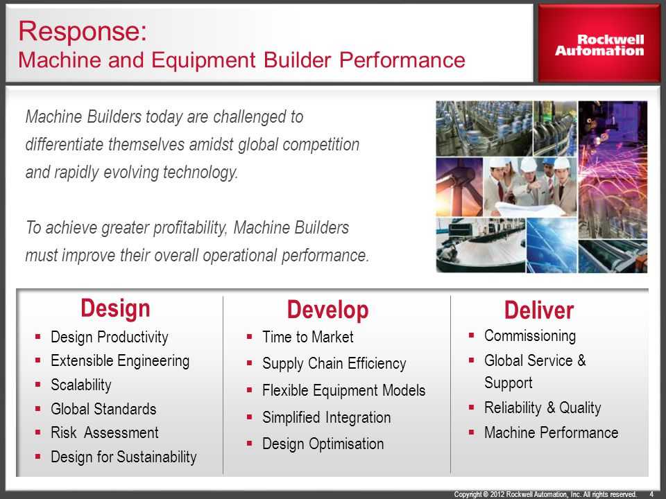 Copyright © 2012 Rockwell Automation, Inc. All rights reserved. Response: Machine and Equipment Builder Performance Commissioning Global Service & Sup
